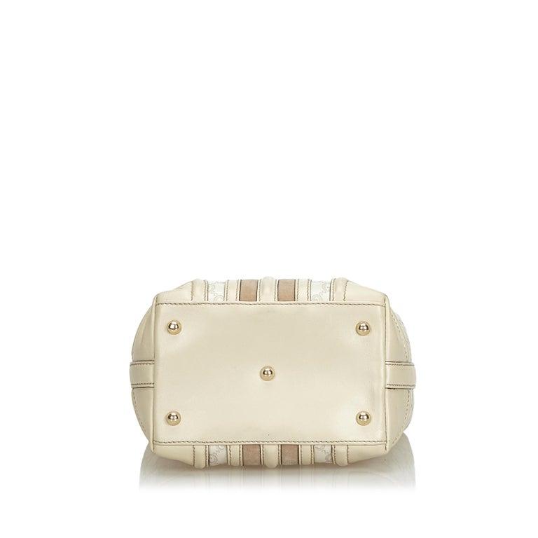 0fdedc6332b Women s Gucci White Leather Guccissima Treasure Handbag For Sale