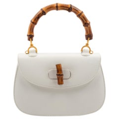 Gucci White Leather Handbag with Bamboo Handle