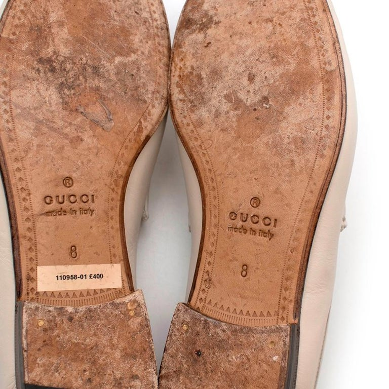 Gucci White Leather Horse Bit Loafers - Size 42 For Sale 2
