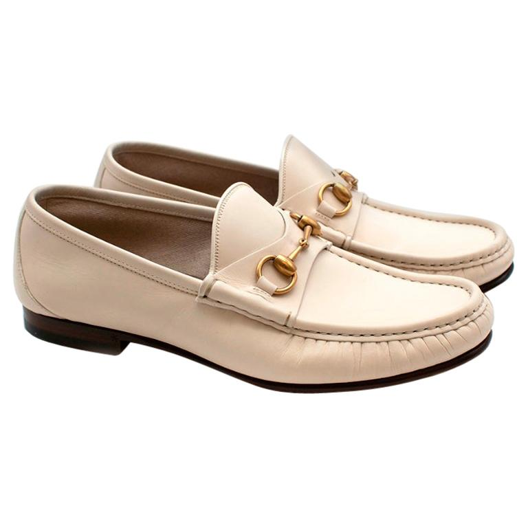 Gucci White Leather Horse Bit Loafers - Size 42 For Sale