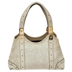 Gucci White Leather Horsebit Embossed Tote