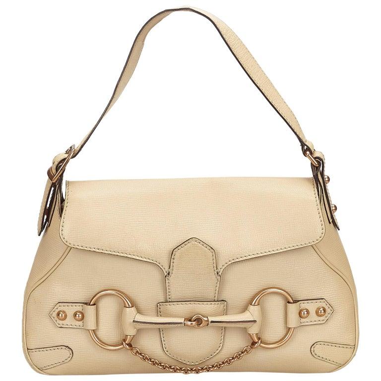 c2e4ebaef184 Gucci White Leather Horsebit Handbag at 1stdibs