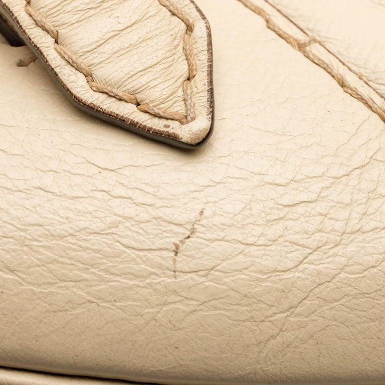 Gucci White  Leather Horsebit Satchel Italy For Sale 9