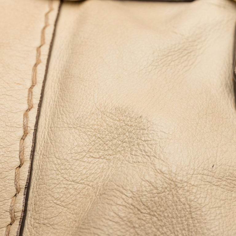 Gucci White  Leather Horsebit Satchel Italy For Sale 10
