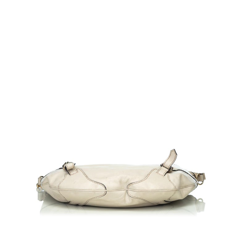 Women's Gucci White  Leather Horsebit Satchel Italy For Sale