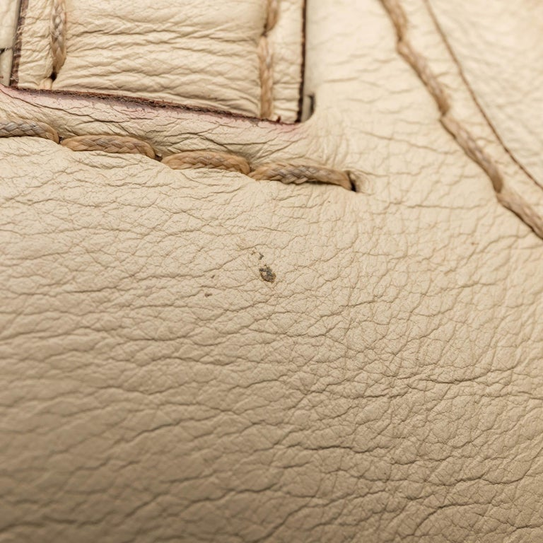 Gucci White  Leather Horsebit Satchel Italy For Sale 5