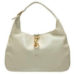 Gucci White Leather Jackie O Hobo Bag