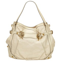 Gucci White Leather Jockey Tote