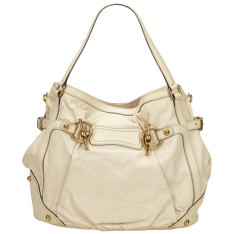 5b56c0d8583 Gucci White Leather Jockey Tote For Sale at 1stdibs