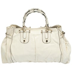 Gucci White Leather Large Bamboo Pop Tote