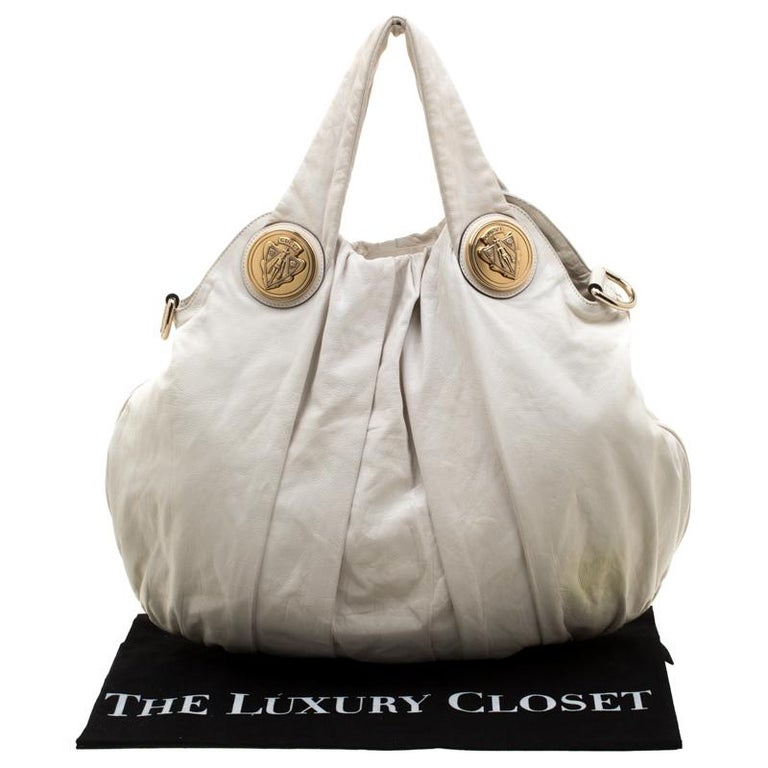 Gucci White Leather Large Hysteria Hobo For Sale 8