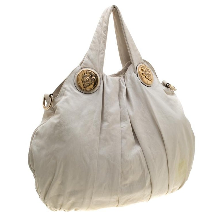 Gucci White Leather Large Hysteria Hobo For Sale 3