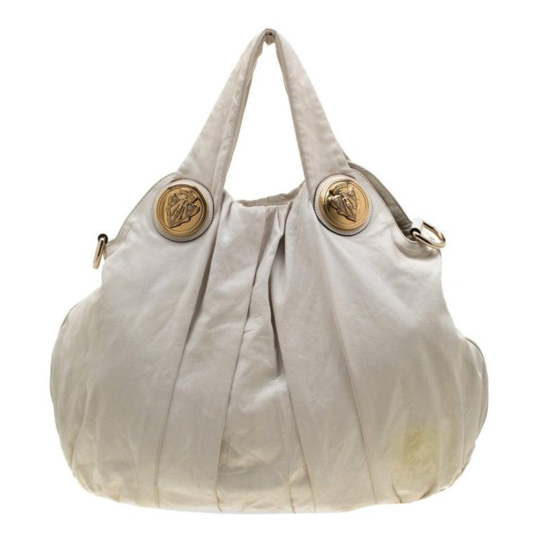 Gucci White Leather Large Hysteria Hobo For Sale