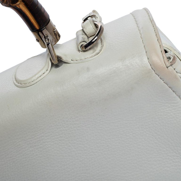 Gucci White Leather Large New Bamboo Tassel Top Handle Bag For Sale 5