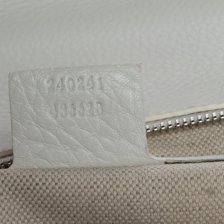 Gucci White Leather Large New Bamboo Tassel Top Handle Bag For Sale 7
