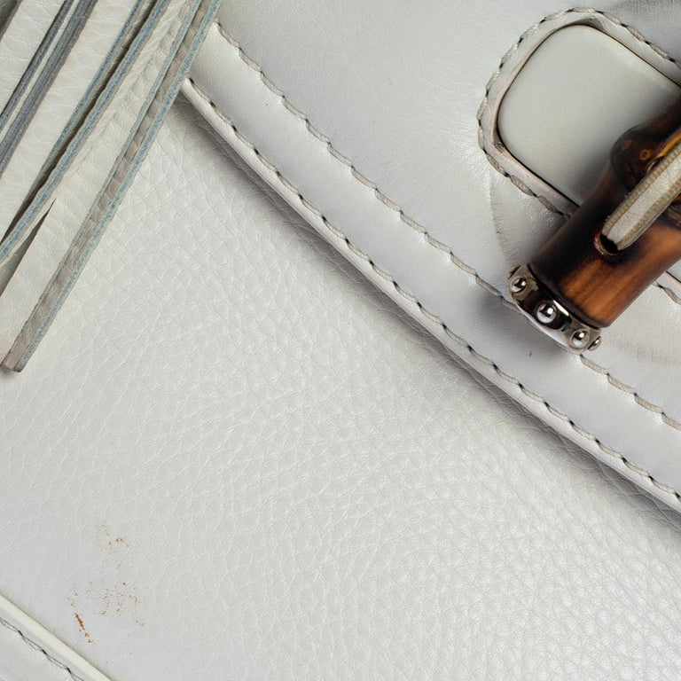 Gucci White Leather Large New Bamboo Tassel Top Handle Bag For Sale 8