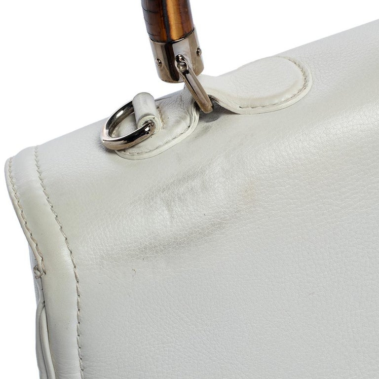 Gucci White Leather Large New Bamboo Tassel Top Handle Bag For Sale 9