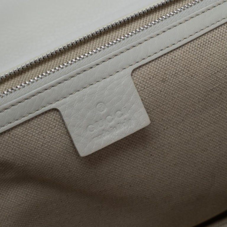 Gucci White Leather Large New Bamboo Tassel Top Handle Bag For Sale 1