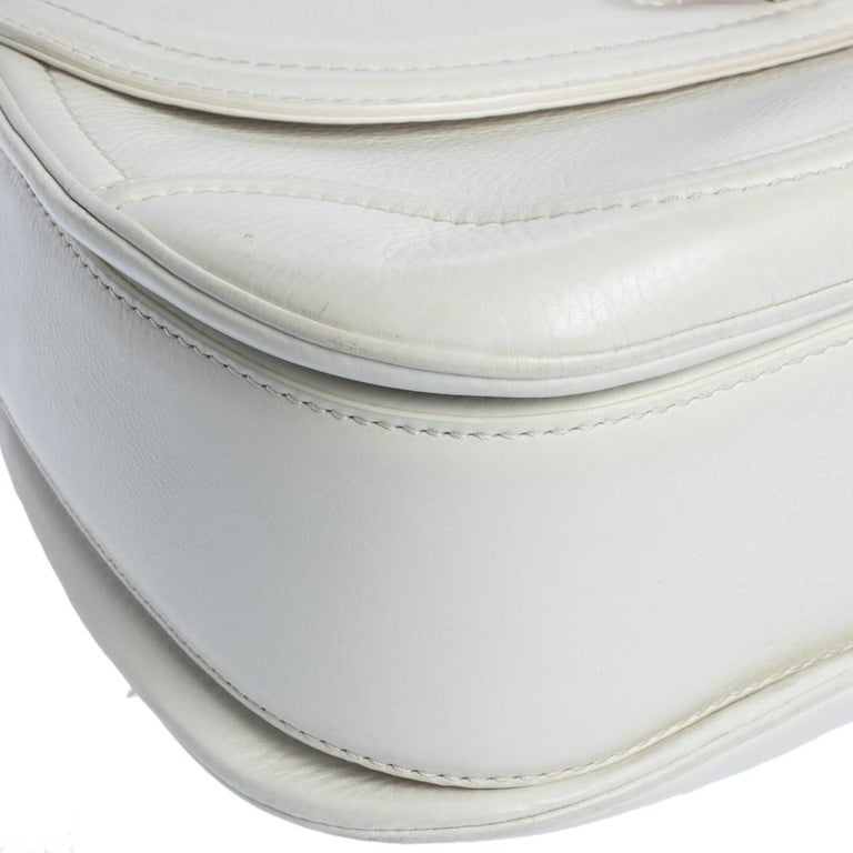 Gucci White Leather Large New Bamboo Tassel Top Handle Bag For Sale 3