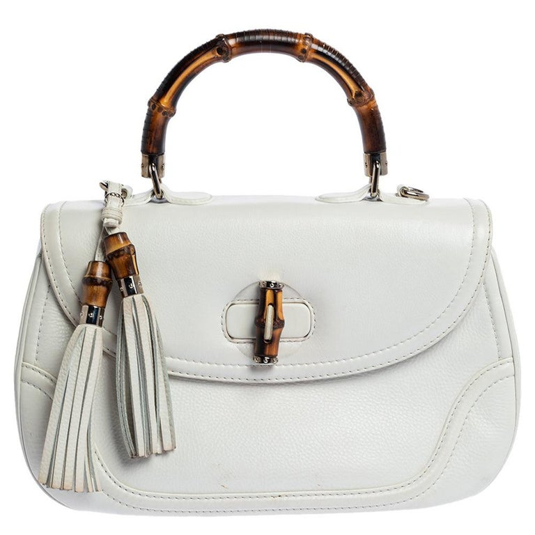 Gucci White Leather Large New Bamboo Tassel Top Handle Bag For Sale