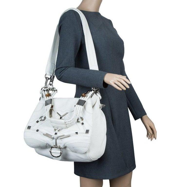 41983d7fc6e94c Gray Gucci White Leather Large Techno Horsebit Flap Shoulder Bag For Sale