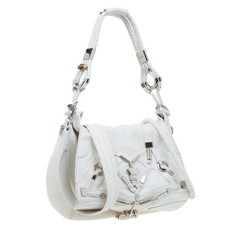 1cc79c41c8178e Gucci White Leather Large Techno Horsebit Flap Shoulder Bag In Excellent  Condition For Sale In Dubai