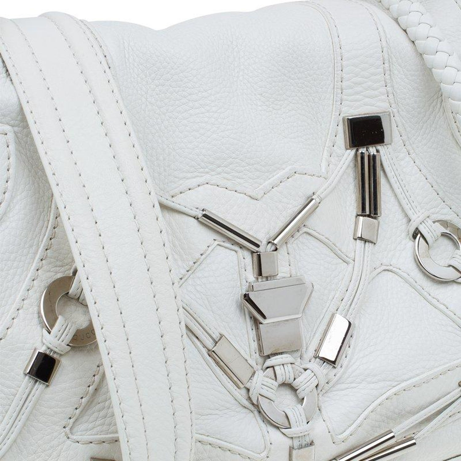d751f449d15ae5 Gucci White Leather Large Techno Horsebit Flap Shoulder Bag For Sale at  1stdibs