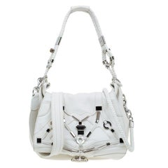 Gucci White Leather Large Techno Horsebit Flap Shoulder Bag