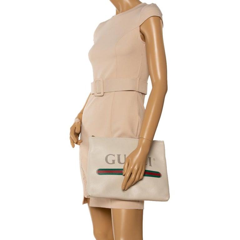 Gray Gucci White Leather Logo Porforlio Pouch
