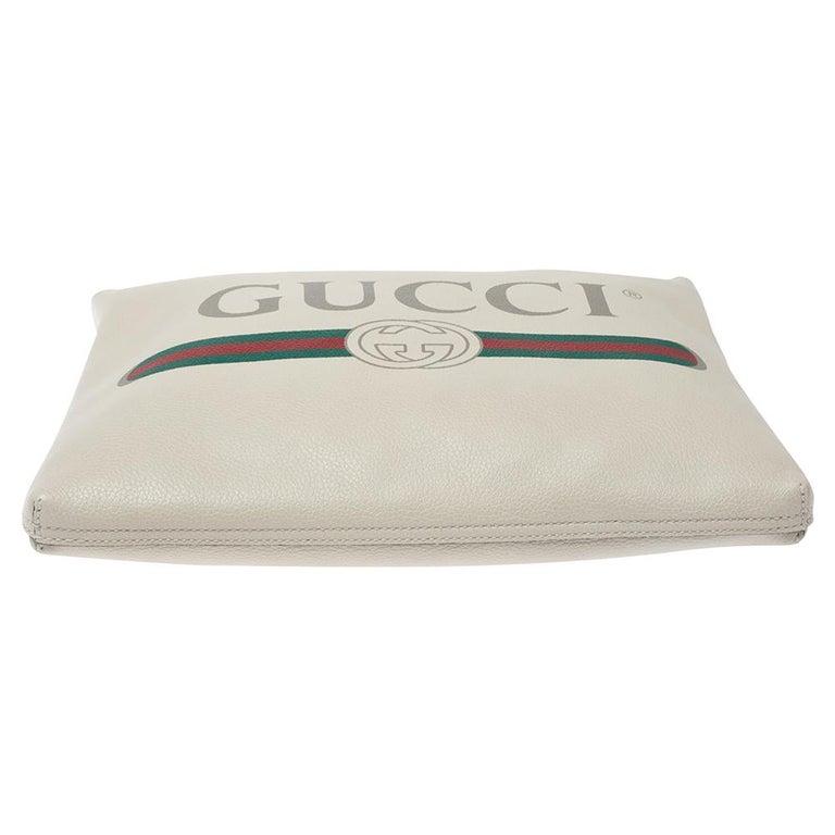 Women's Gucci White Leather Logo Porforlio Pouch