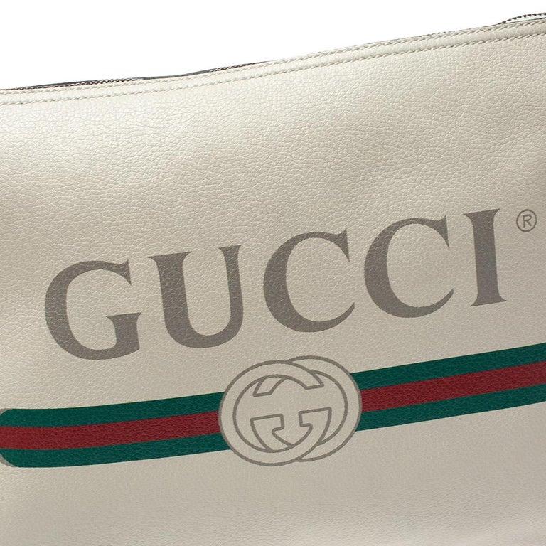 Gucci White Leather Logo Porforlio Pouch 1