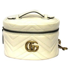 Gucci White Leather Marmont Bachpack