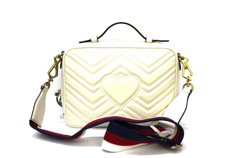 Gucci White Leather Marmont Bag In New Condition For Sale In Torre Del Greco, IT