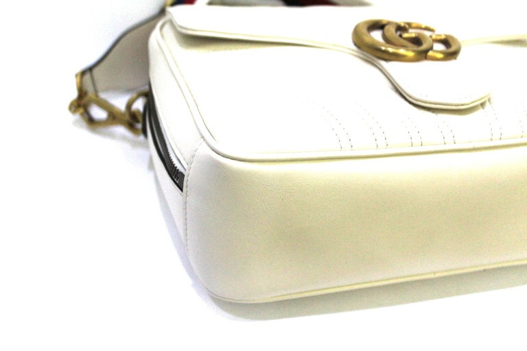Gucci White Leather Marmont Bag For Sale 1