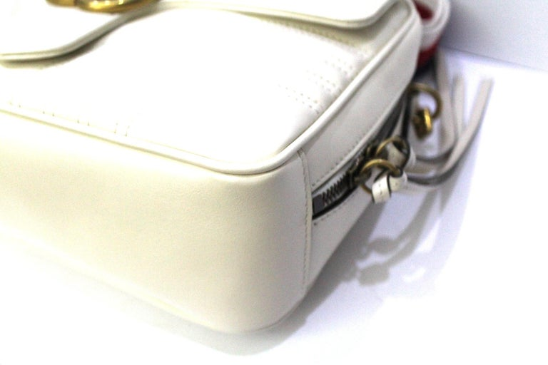 Gucci White Leather Marmont Bag For Sale 2