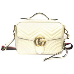 Gucci White Leather Marmont Bag