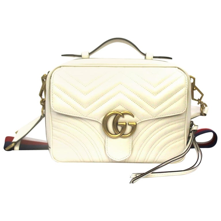 Gucci White Leather Marmont Bag For Sale
