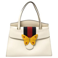 Gucci White Leather Medium Web Butterfly Linea Totem Tote