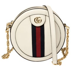 Gucci White Leather Mini Ophidia Round Shoulder Bag
