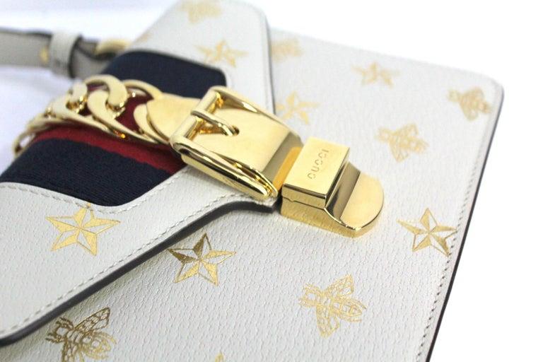 Women's Gucci White Leather Mini Sylvie Bee Star Gucci Bag For Sale