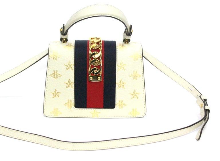 Gucci White Leather Mini Sylvie Bee Star Gucci Bag For Sale 2