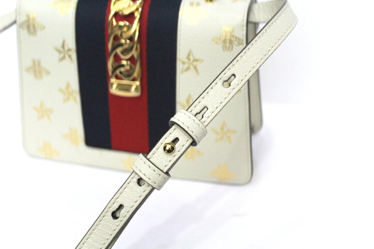 Gucci White Leather Mini Sylvie Bee Star Gucci Bag For Sale 3
