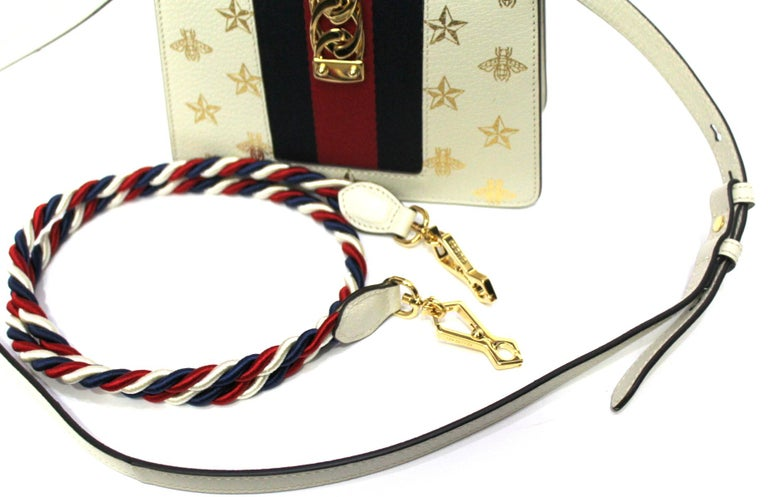 Gucci White Leather Mini Sylvie Bee Star Gucci Bag For Sale 4