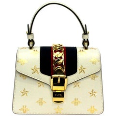 Gucci White Leather Mini Sylvie Bee Star Gucci Bag