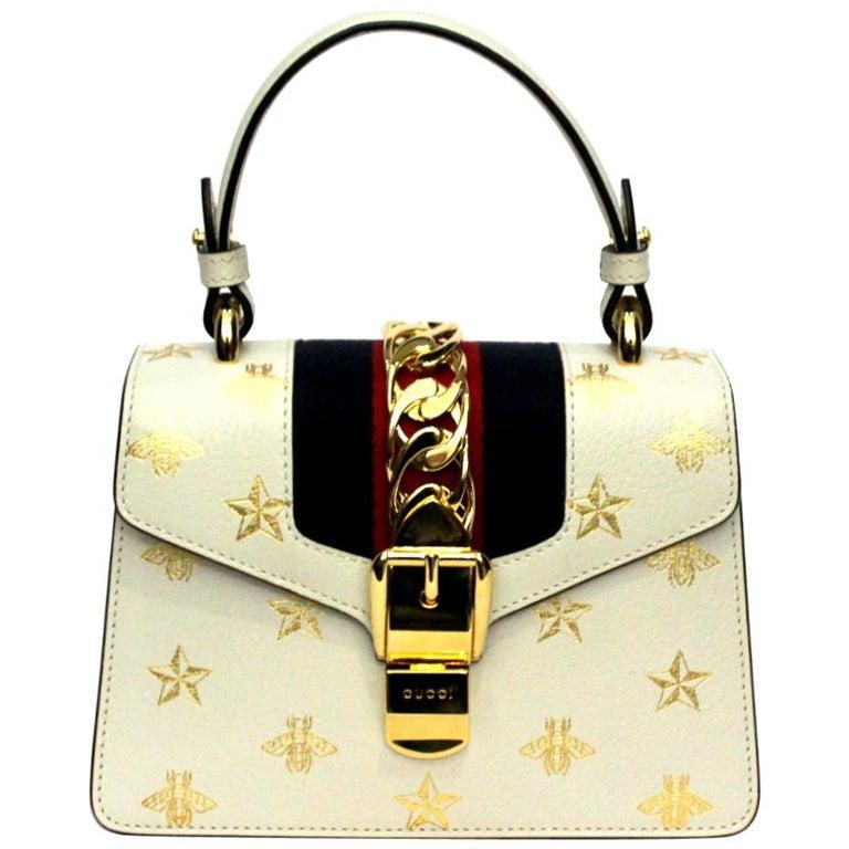 Gucci White Leather Mini Sylvie Bee Star Gucci Bag For Sale