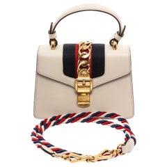 Gucci White Leather Mini Sylvie Chain Shoulder Bag