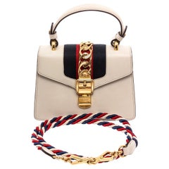 Gucci White Leather Mini Sylvie Chain Shoulder Bag