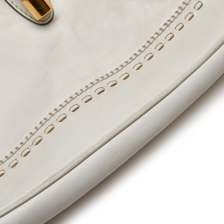 Gucci White Leather New Jackie Bamboo Satchel 6