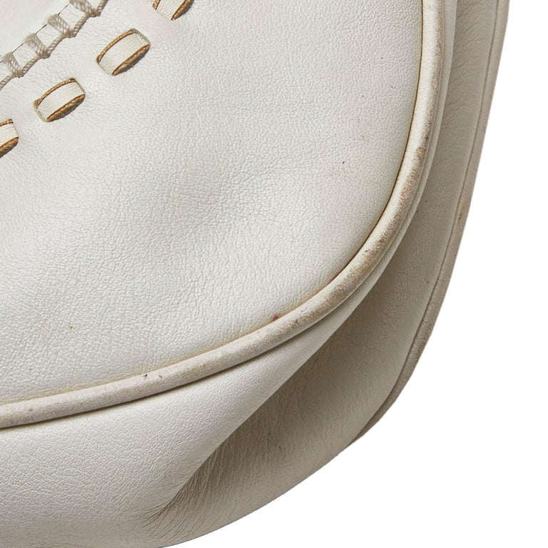 Gucci White Leather New Jackie Bamboo Satchel 8