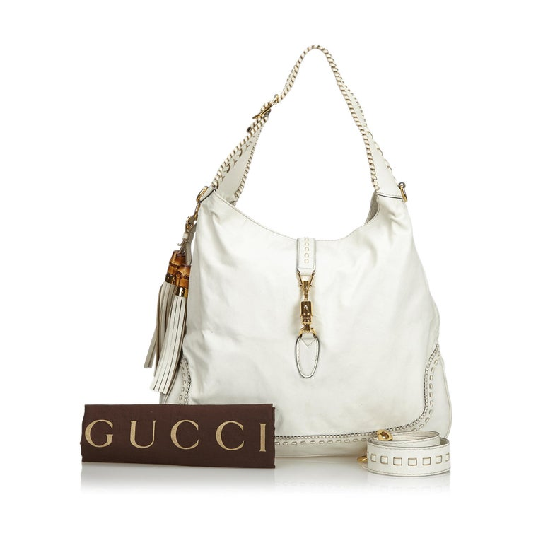 Gucci White Leather New Jackie Bamboo Satchel 10